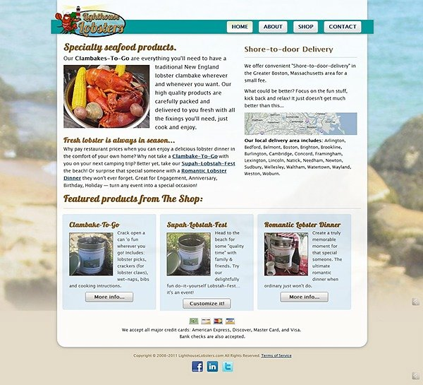 Lighthouse Lobsters - Homepage